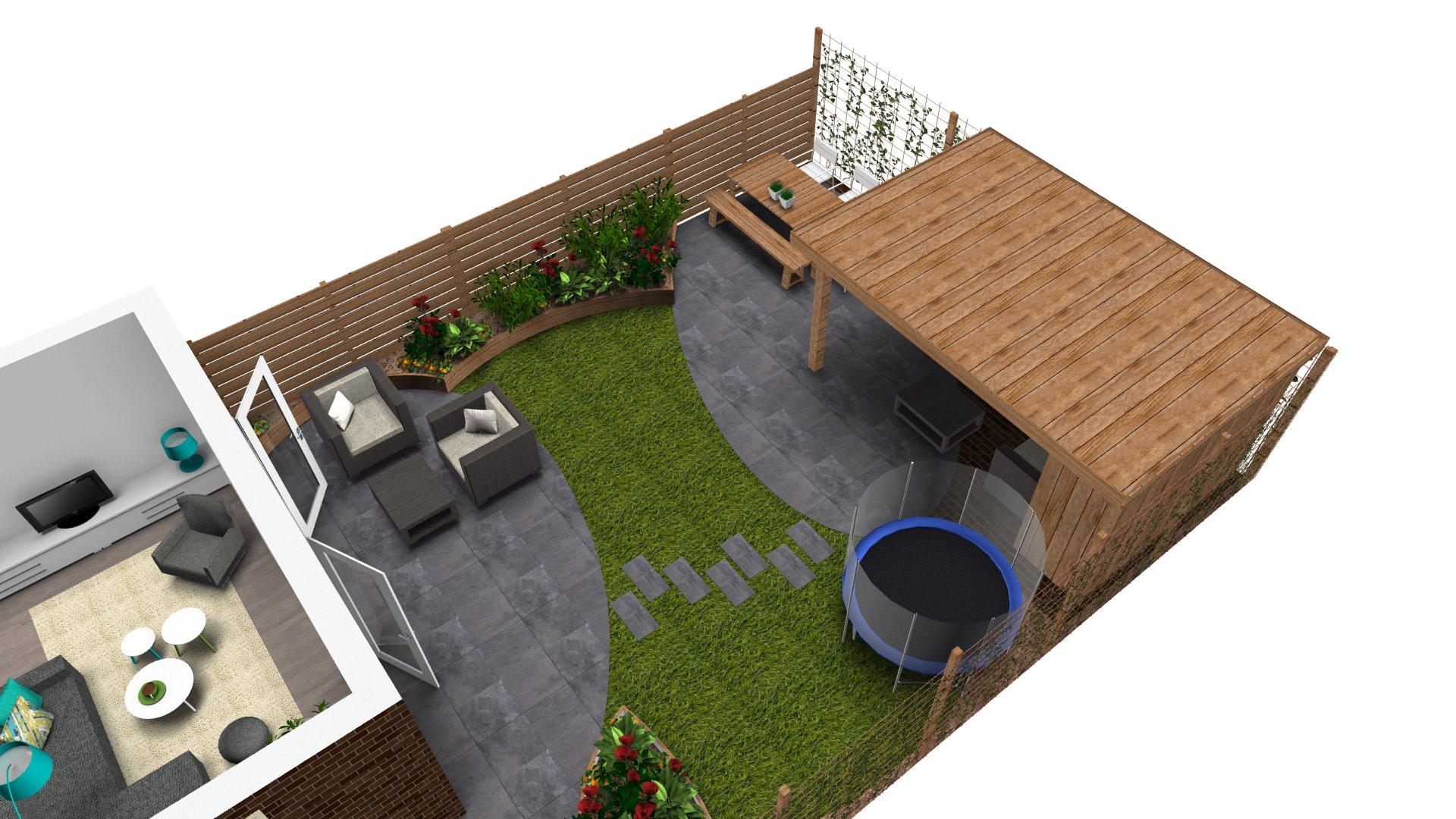 Overkapping Kleine Tuin : Aanleg achtertuin met schuur en overkapping hoveniersbedrijf